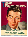 True Romances Vintage Magazine - February 1937 - Robert Taylor MGM Painted Giclee Print by Georgia Warren