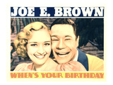 When's Your Birthday, Marian Marsh, Joe E Brown, 1937 Affiches
