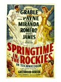 Springtime In The Rockies, Cesar Romero, Betty Grable, Carmen Miranda, John Payne, 1942 Poster