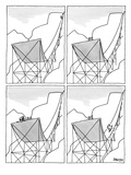 A four-paneled cartoon shows a skier on a huge ski jump. He plunges down t… - New Yorker Cartoon Premium Giclee Print by Jack Ziegler