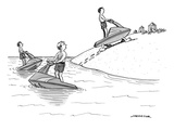 (A man on a jetski looks at another man on a jetski, whose jetski is walki… - New Yorker Cartoon Premium Giclee Print by Joe Dator
