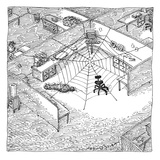 A web has entangled a man at his cubicle.  The office chair is the spider. - New Yorker Cartoon Premium Giclee Print by John O'brien