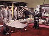 Forbidden Planet, Jack Kelly, Warren Stevens, Leslie Nielsen, Walter Pidgeon, Robby The Robot, 1956 Photo