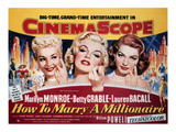How To Marry A Millionaire, Betty Grable, Marilyn Monroe, Lauren Bacall, 1953 Affiches