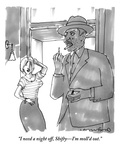 """I need a night off, Shifty—I'm moll'd out."" - New Yorker Cartoon Premium Giclee Print by Michael Crawford"