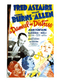 A Damsel In Distress, Fred Astaire, George Burns, Gracie Allen, Joan Fontaine, 1937 Póster