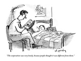 A father tucks his son into bed with a bedtime story about the corporation - New Yorker Cartoon Premium Giclee Print by Mike Twohy