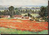 Field Of Poppies Reproduction transférée sur toile par Claude Monet