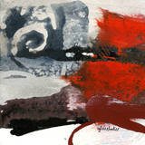 Red Abstract Trio I Prints by Sylvie Cloutier
