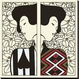 Silhouet I-II, ca. 1912 Kunstdruk op gespannen doek van Gustav Klimt