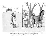 """Whoa, Galahad—you've got a bad case of knight face."" - New Yorker Cartoon Premium Giclee Print by Zachary Kanin"
