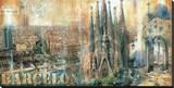 Barcelone Reproduction transférée sur toile par John Clarke