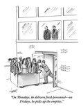 """On Mondays, he delivers fresh personnel—on Fridays, he picks up the empti - New Yorker Cartoon Premium Giclee Print by Tom Cheney"