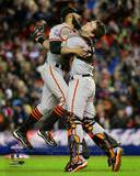Buster Posey & Sergio Romo Celebrate Winning Game 4 of the 2012 World Series Photo