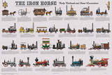 The Iron Horse - Early Railroads and Steam Locomotives Educational Poster Plakater