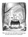"""How come when men cook outdoors it's 'barbecuing,' but when women do it i…"" - New Yorker Cartoon Premium Giclee Print by Paul Noth"