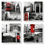 London Red Collage Posters