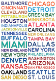 National Football League Cities on White Affiches
