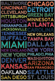 National Football League Cities Colorful Pôsters