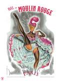 1962 Moulin Rouge cancan rose Reproduction procédé giclée par Pierre Okley