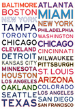 Major League Baseball Cities on White Prints