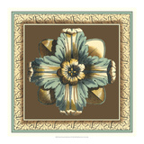 Printed Chocolate and Blue Rosette II Posters by Vision Studio