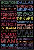 National Basketball Association Cities Colorful Plakat