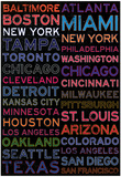 Major League Baseball Cities Colorful Posters