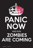 Panic Now and Run Zombies Are Coming Tin Sign