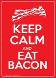 Keep Calm and Eat Bacon Plaque en métal