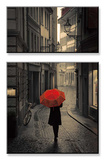 Red Rain Mounted Print by Stefano Corso