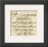 Words to Live By: Life Print by Marilu Windvand