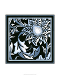 Blue and White Floral Motif II Posters por  Vision Studio