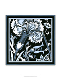 Blue and White Floral Motif I Print by  Vision Studio