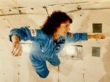 Christa McAuliffe Experiences Weightlessness Poster