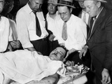 John Dillinger, Public Enemy No 1, Lying on a Slab in the County Morgue in Chicago Photographic Print