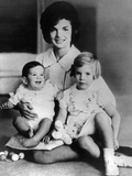 Jacqueline Kennedy with Two Children, Baby John F Kennedy Jr and 4 Year Old Caroline, April 1962 Photographic Print