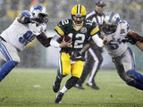 Green Bay Pakers and Detroit Lions NFL: Aaron Rodgers, Nick Fairley and DeAndre Levy Photographic Print by Mike Roemer