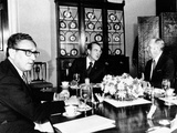 Pres Richard Nixon, Secy of State William Rogers and Henry Kissinger at Breakfast Meeting Photographic Print