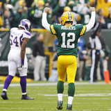 Green Bay Packers and Minnesota Vikings NFL: Aaron Rodgers Photographic Print by Mike Roemer