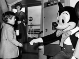 John F Kennedy Jr Shake Hands with Mickey Mouse During Visit to New York World's Fair, Apr 24, 1965 Photo