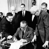 President Lyndon Johnson Signs the 24th Amendment to the Constitution Photographic Print