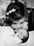 Caroline Kennedy, 3 Years Old Kisses Her Baby Brother, John F Kennedy Jr, Feb 13, 1961 Photo