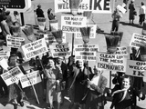 Pro-Eisenhower Demonstrators with Posters on Household Brooms Photographic Print
