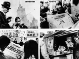 Newspaper Headlines World Wide Tell of President Lyndon Johnson's Decision Not Seek Re-Election Posters