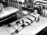 Young Polio Victim in Bed with a Body and Leg Brace, Sept 18, 1937 Photographic Print