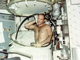 Astronaut Jack R Lousma, Taking a Hot Bath in the Crew Quarters Aboard Skylab Posters