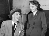 TV Comedian Jimmy Durante and President Truman's Daughter, Margaret, Rehearse Photographic Print