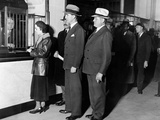 Detroit Workers Line Up at the New Chrysler Emergency Bank at Tellers Window Photo