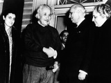 Prime Minister Pandit Jawaharlal Nehru, India, Says Goodbye to Dr Albert Einstein at His Home Photographic Print